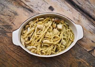 Pasta spinazie – kip – spek